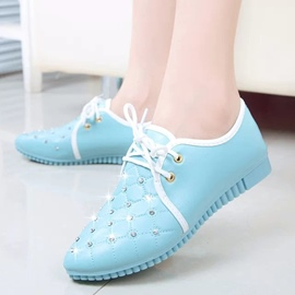 Ericdress Fresh Color Rhinestone Lace up Flats