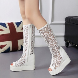 Ericdress Lace Cut Out Knee High Boots