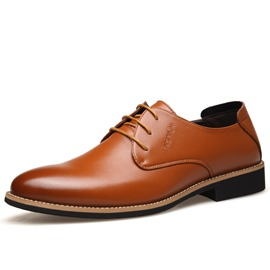Ericdress Lace-Up Pointed Toe Square Low Heel Men's Oxfords