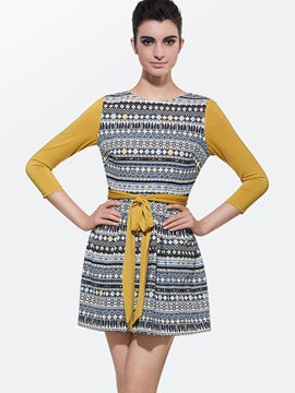 Ericdress Print Patchwork Lace-Up Casual Dress
