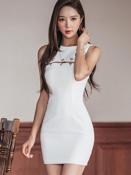 Ericdress Solid Color Hollow Bodycon Dress