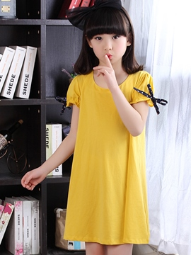 Ericdress Falbala Short Sleeve Bow Appliques Girls Dress