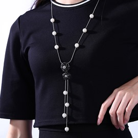 Ericdress Black Flower Tassel Necklace