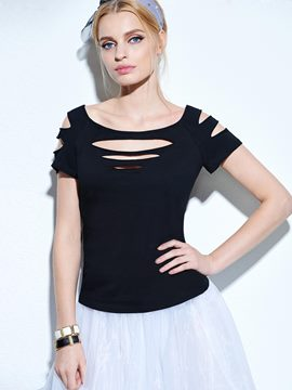 Ericdress Off-Shoulder Gripped T-Shirt