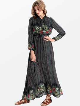 Ericdress Stripe Bowknot Long Sleeve Maxi Dress