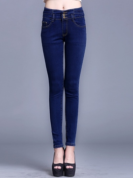 Ericdress Straight Solid Color Jeans