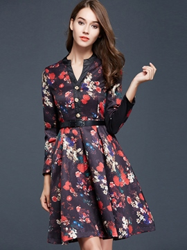 Ericdress Chic Vintage Print Long Sleeve Casual Dress