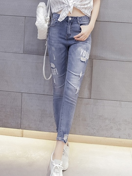 Ericdress Letter Print Ripped Jeans