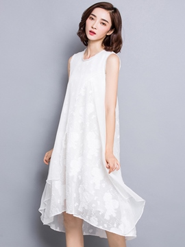 Ericdress Summer White Sleeveless Loose Round Neck Casual Dress