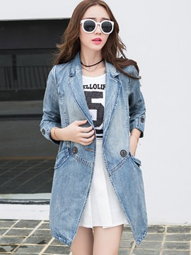 Ericdress Solid Color Slim Polo Denim Outerwear