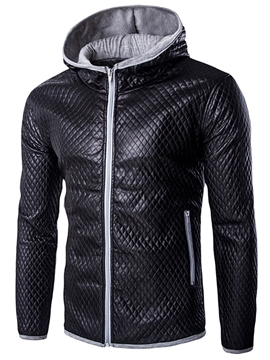 Ericdress Hood Zip Slim PU Men's Jacket
