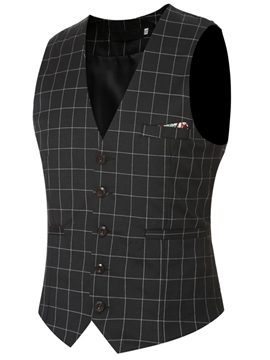 Ericdress Plaid Pocket Slim Men's Vest