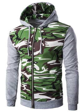 Ericdress Zip Camouflage Patchwork Casual Men's Hoodie