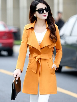 Ericdress Slim Lace-Up Solid Color Trench Coat