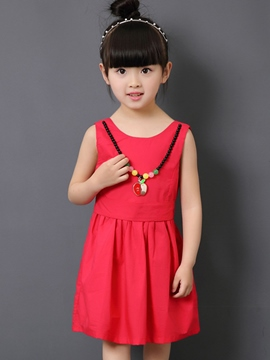 Ericdress Backless Plain with Necklace Girls Dress