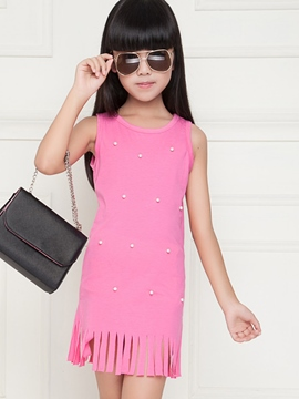 Ericdress Bead Tassel Pink Girls Dress