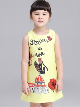 Ericdress Cartoon Print A-Line Girls Dresss