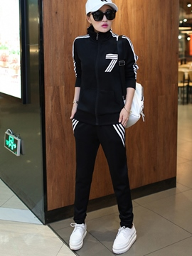 Ericdress Zipper Hoodie Sports Suit