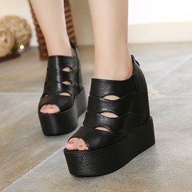 Ericdress PU Cut Out Peep Toe Wedge Sandals