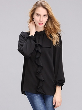 Ericdress Black Falbala Long Sleeve Blouse