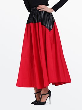 Ericdress Color Block Patchwork Maxi Skirts