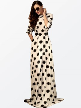 Ericdress Autumn Polka Dots Long Sleeve Maxi Dress