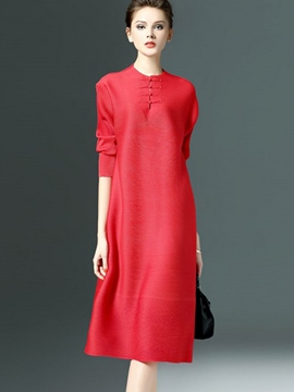 Ericdress Straight Soild Color Three-Quarter Sleeve Casual Dress