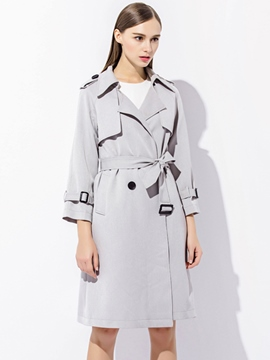Ericdress European Slim Lace-Up Trench Coat