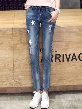 Ericdress Star Pattern Ripped Jeans