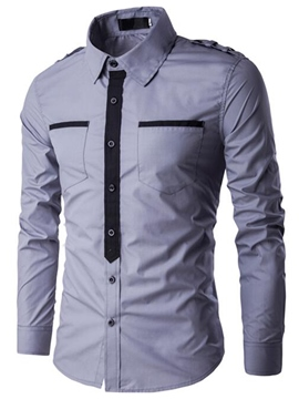 Ericdress Patchwork Vogue Slim Men's Shirt
