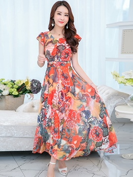 Ericdress Summer Floral Print Short Sleeve Expansion Maxi Dress