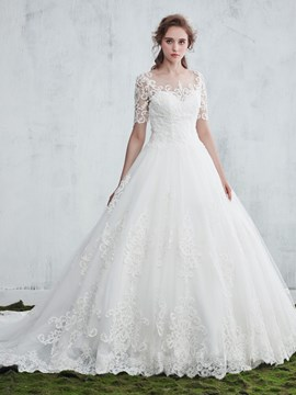 Ericdress Beautiful Illusion Neck Appliques Ball Gown Wedding Dress With Sleeves