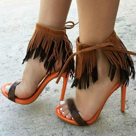 Ericdress Patchwork Tassels Open Toe Stiletto Sandals