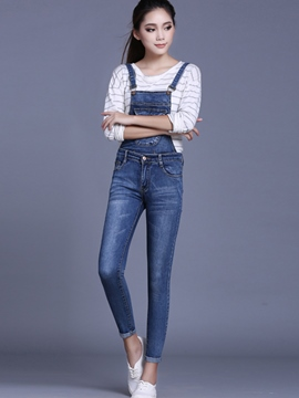 Ericdress Preppy Romovable Denim Suspender Pants