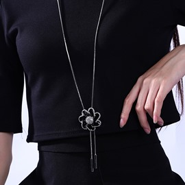 Ericdress Black Flower with Tassels Necklace