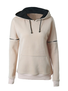 Ericdress Casual Color Block Lace-Up Hoodie
