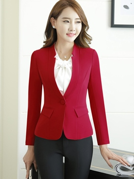 Ericdress Slim Solid Color Formal Blazer