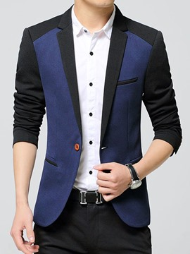 Ericdress Color Block Slim Men's Blazer