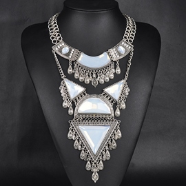 Ericdress Geometric Gemstones Inlaid Alloy Necklace