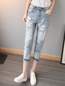 Ericdress Unique Print Bead Jeans