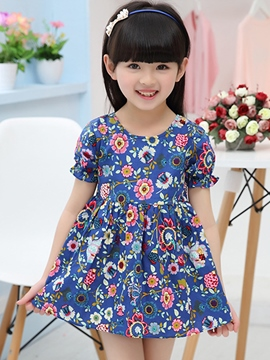 Ericdress Falbala Short Sleeve Floral Printed Pleated Girls Dresses
