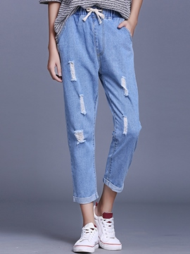 Ericdress Straight Ripped Jeans