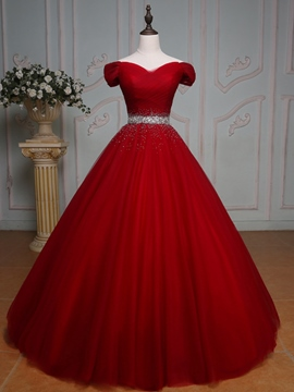 Ericdress Off-the-Shoulder Ball Gown Beading Pleats Floor-Length Quinceanera Dress