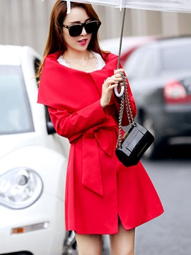 Ericdress Solid Color Belt Slim Trench Coat