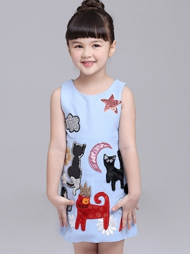 Ericdress Cartoon Print O Neck Girls Dress
