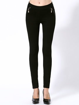 Ericdress Solid Color Zipper Decoration Leggings Pants