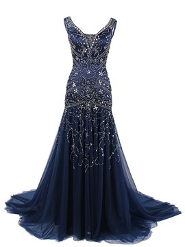 Ericdress Luxurious Trumpet V-Neck Beading Court Train Evening Dress