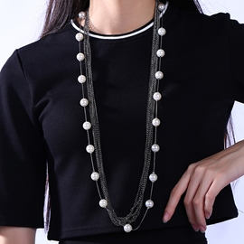 Ericdress Multilayer Alloy Chain Pearl Necklace