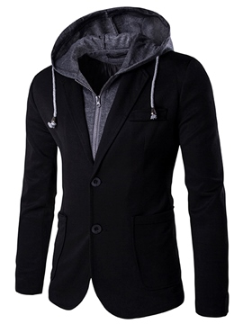 Ericdress Double-Layer Hood Zip Slim Men's Jacket