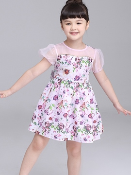 Ericdress Lantern Short Sleeve Floral Printed Girls Dresses